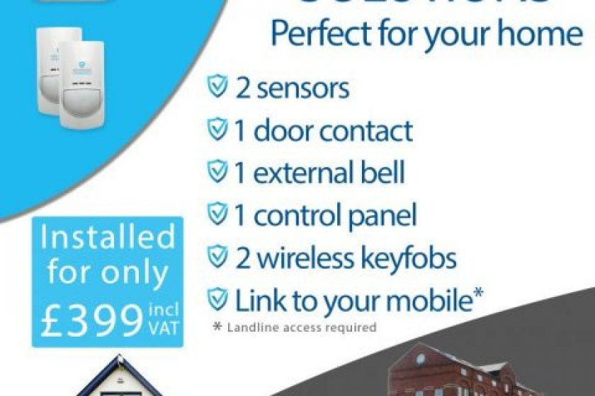 Home security alarm systems installed for £399 including VAT